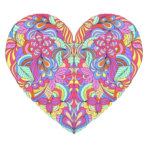 Coeur coloré sur fond blanc Vecteur Premium