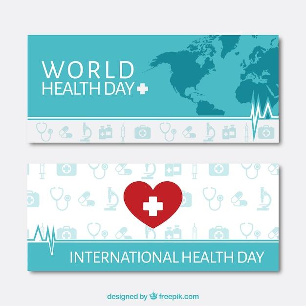 Coeur avec une croix et carte jour santé bannières Vecteur gratuit
