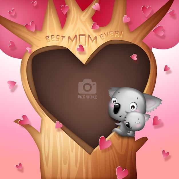 Coeur dans un arbre avec le modèle de famille de koala Vecteur Premium