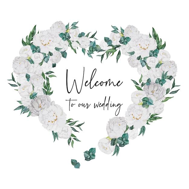 Coeur de décoration de mariage aquarelle avec pivoines blanches Vecteur Premium