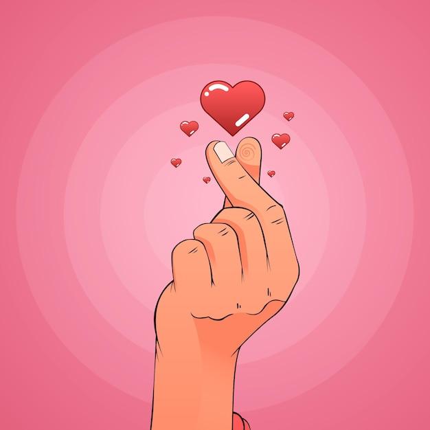 Coeur De Doigt Dégradé Illustré Vecteur gratuit