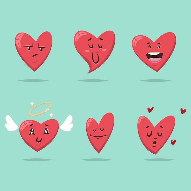 Cœur drôle avec différentes expressions du visage et des émotions Vecteur Premium