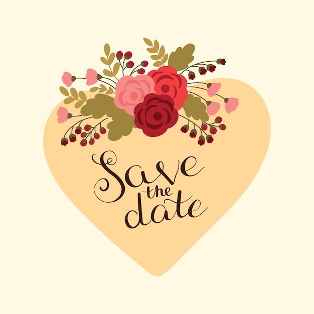 Coeur élégant avec bouquet de fleurs rouges et roses Vecteur Premium