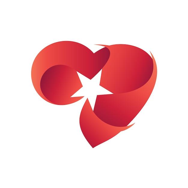 Coeur avec étoile logo vecteur Vecteur Premium