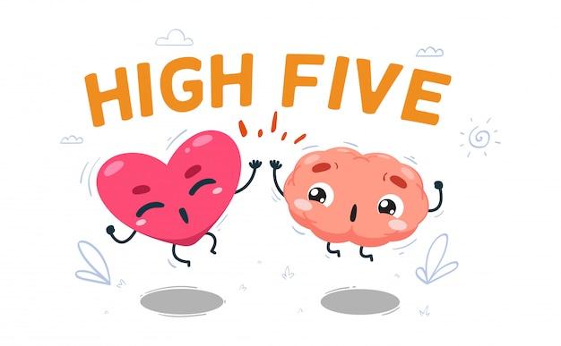 Le Cœur Fait Un High Five Avec Le Cerveau. Illustration Isolée Vecteur Premium