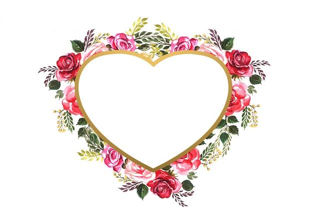 Coeur De Fleurs Décoratives Belle Saint Valentin Vecteur gratuit
