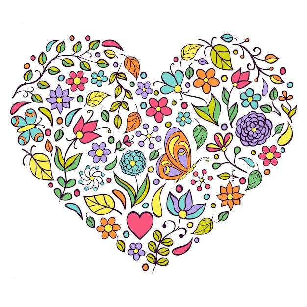 Coeur floral sur fond blanc. Vecteur Premium