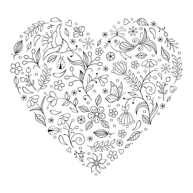 Coeur floral saint valentin Vecteur Premium