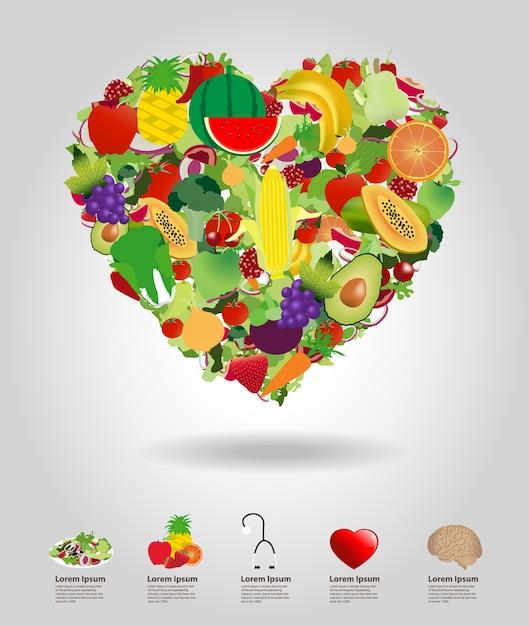 Coeur de fruits et légumes, illustration de conception de modèle Vecteur Premium