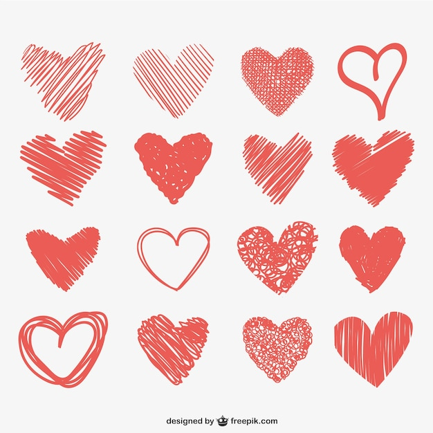 Coeur griffonne collection Vecteur gratuit