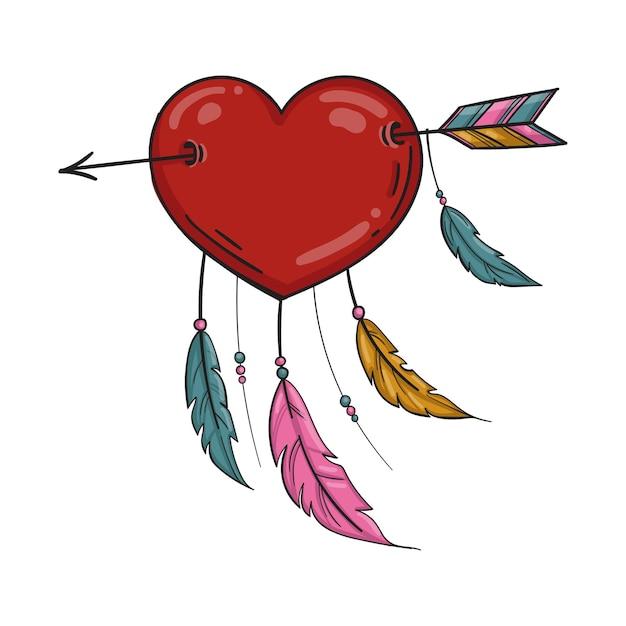 Coeur Indien Rouge Avec Flèche Et Ornement. Isolé Sur Fond Blanc. Vecteur Premium