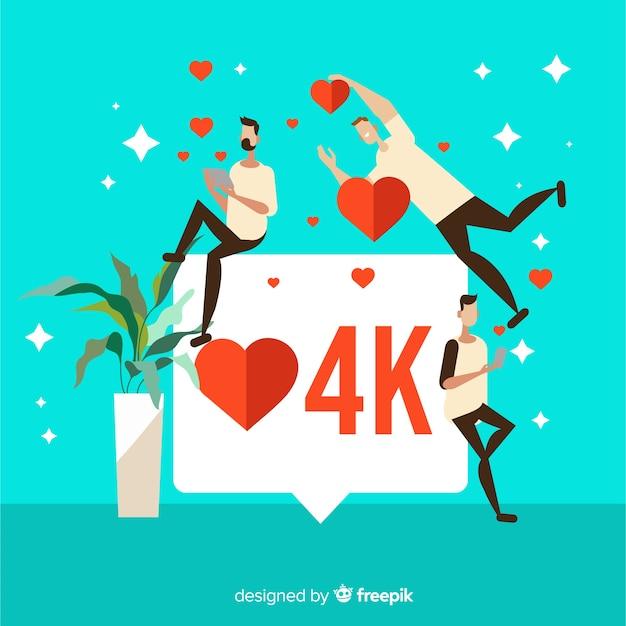 Coeur instagram. adolescents sur les médias sociaux. conception de personnages. Vecteur gratuit