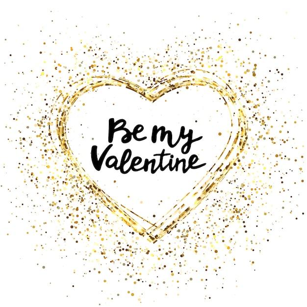 Coeur De Paillettes D'or Et Texte Pour Carte De Voeux. Vecteur Premium