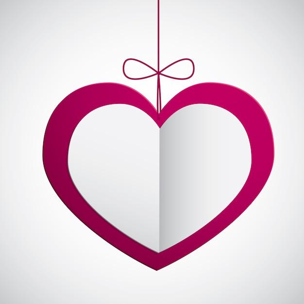 Coeur en papier suspendu Vecteur Premium
