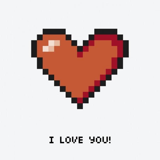 Coeur pixélisé avec un message Vecteur gratuit