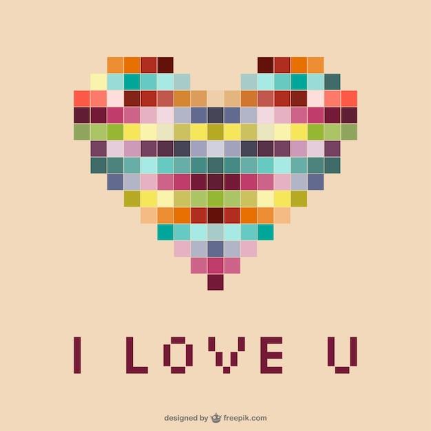 Coeur pixels Vecteur gratuit
