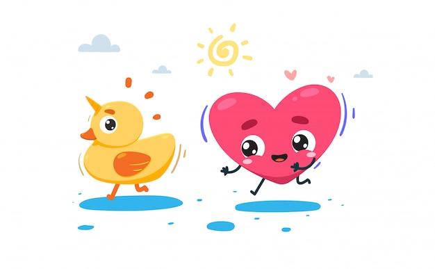 Le Cœur Poursuit Un Canard Avec La Corne Vecteur Premium