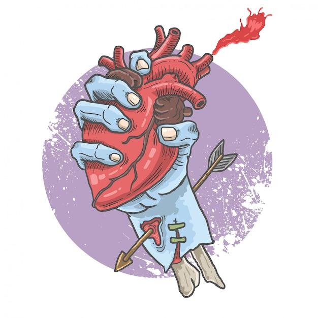 Coeur de prise de main de zombie Vecteur Premium