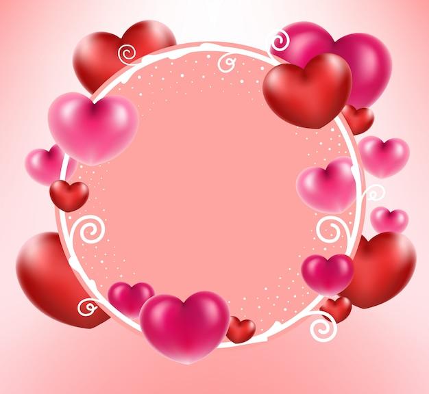 Coeur Rouge Avec Cadre De Cercle Sur Fond Rose. Vecteur Premium