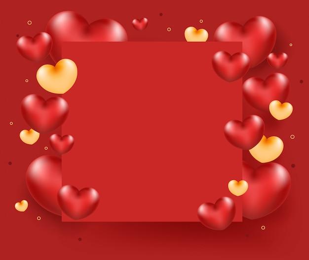 Coeur Rouge Avec Cadre De Papier Sur Fond Rouge. Vecteur Premium