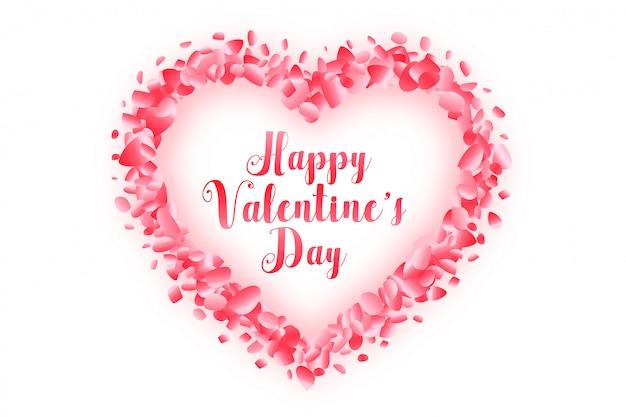 Coeur De Saint Valentin Heureux Fait Avec Carte De Voeux Pétale De Rose Vecteur gratuit