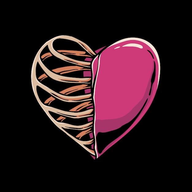 Coeur Squelette Vecteur Premium
