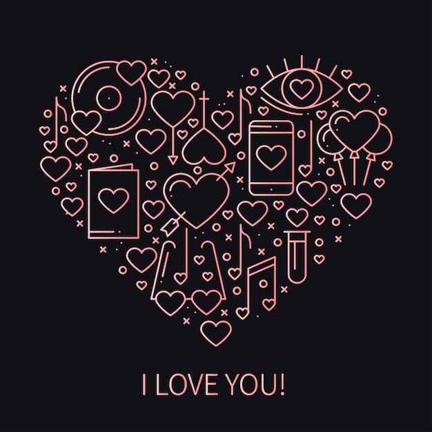 Coeur avec symboles d'amour Vecteur Premium