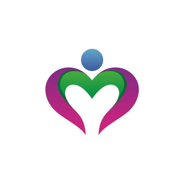 Coeur avec vecteur de logo forme humaine Vecteur Premium