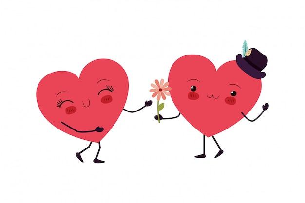 Coeurs aiment le caractère kawaii Vecteur Premium