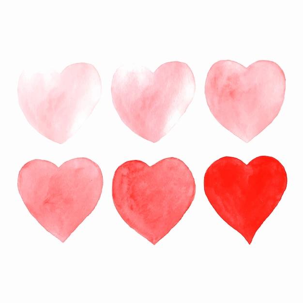 Coeurs aquarelle dessinés à la main, isolés sur blanc. Vecteur gratuit