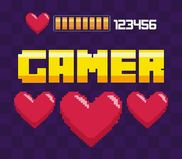 Coeurs du jeu vidéo classique Vecteur Premium