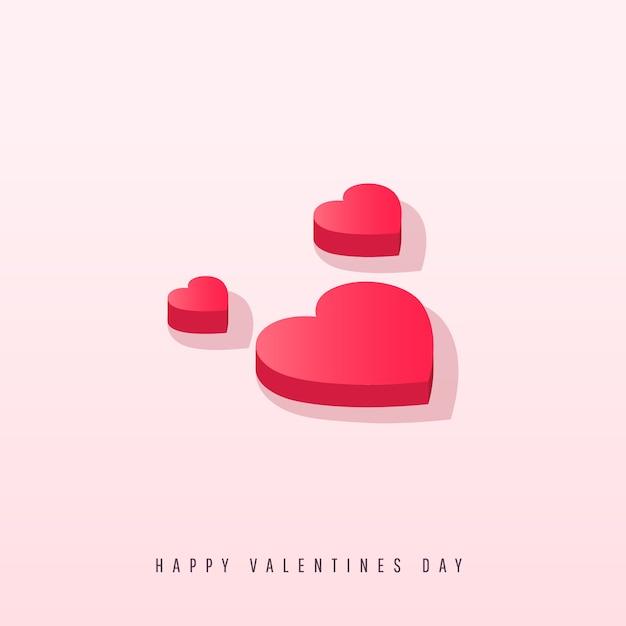 Coeurs isométriques avec ombre sur fond rose Vecteur Premium