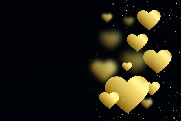 Coeurs d'or sur fond noir Vecteur gratuit