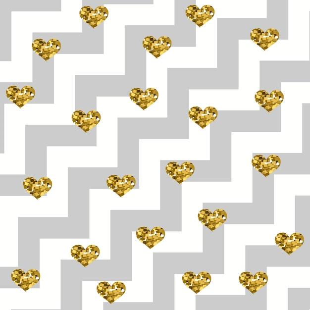 Coeurs d'or glamour scintillant sur un motif en zigzag diagonal Vecteur Premium