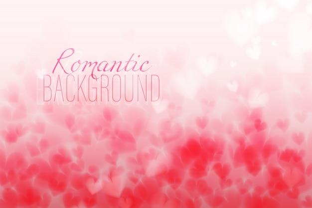 Coeurs roses bokeh lumière horizons horizontaux saint valentin toile de fond avec col changeant Vecteur Premium