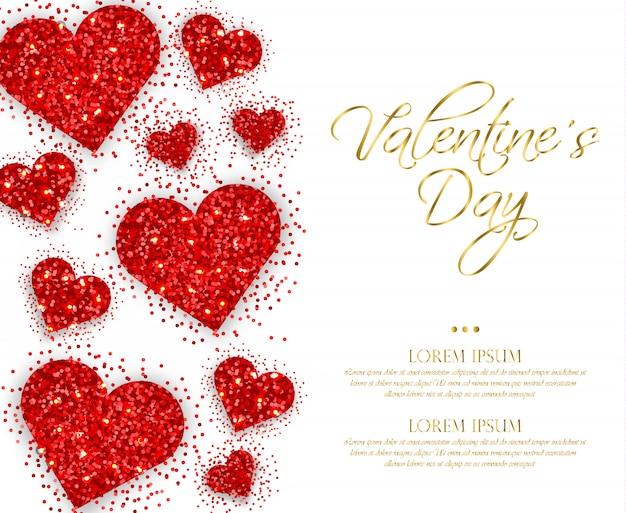 Coeurs rouges scintillants saint valentin Vecteur Premium