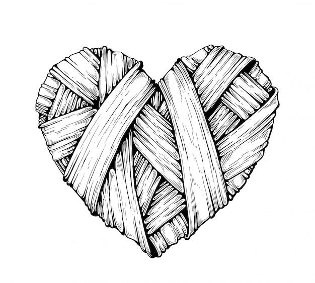 Coeurs tricotés. graphique. Vecteur Premium