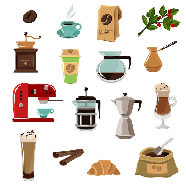 Coffe Retro Flat Icons Set Vecteur gratuit