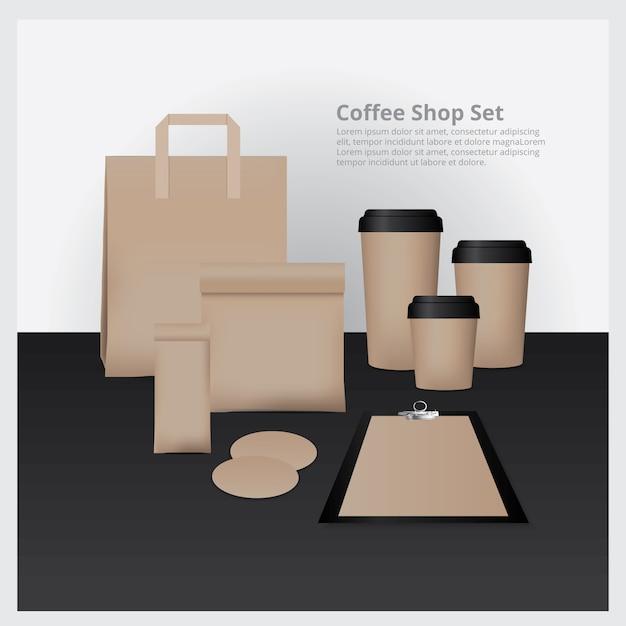 Coffee shop set mock up illustration vectorielle Vecteur Premium