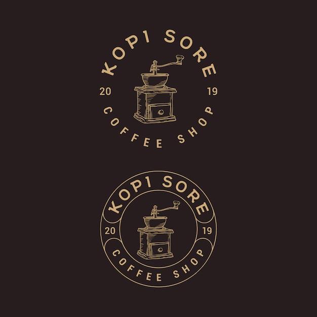 Coffee shop vintage création de logo Vecteur Premium