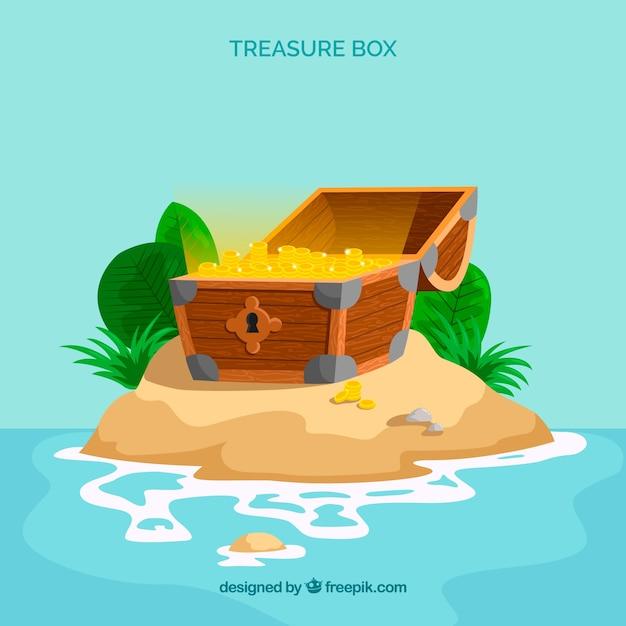 Coffre au trésor en bois avec un design plat Vecteur gratuit