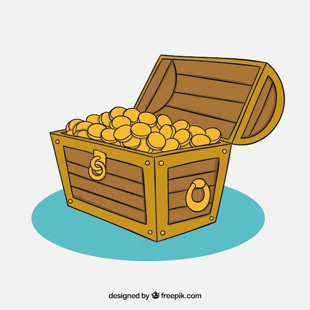 Coffre au trésor en bois dessinés à la main Vecteur gratuit