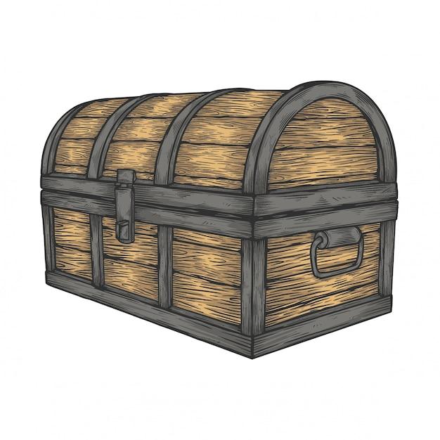 Coffre en bois classique Vecteur Premium