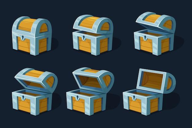 Coffre ou boîte en bois avec diverses images clés. dessin animé Vecteur Premium