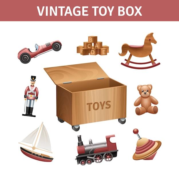 Coffre à jouets vintage avec train à bascule et bateau Vecteur gratuit
