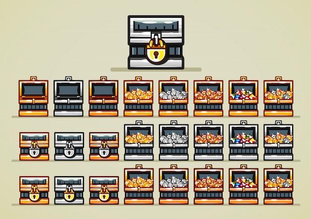 Coffres bleus ouverts et fermés avec pièces de monnaie et pierres précieuses pour les jeux vidéo Vecteur Premium