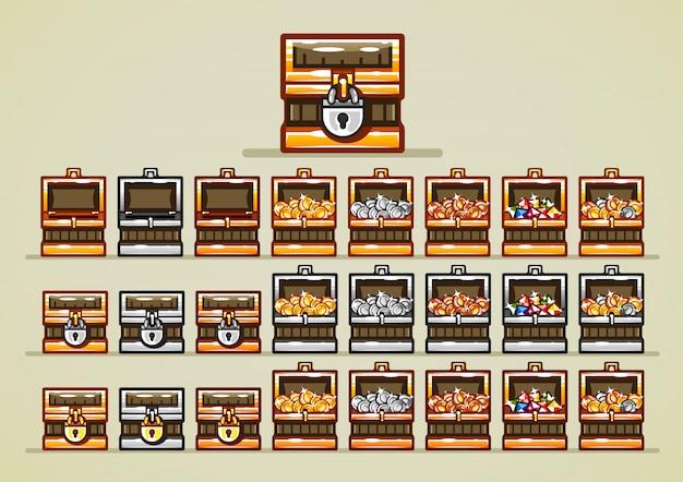 Coffres ouverts et fermés avec pièces de monnaie et pierres précieuses pour les jeux vidéo Vecteur Premium