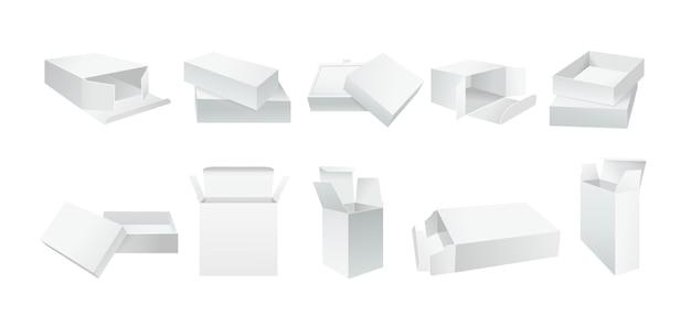 Coffret Blanc Modèle. Collection De Boîtes-cadeaux D'emballage De Produit Réaliste Vierge. Paquet De Papier Ouvert Et Fermé. Côté D'angle En Carton Blanc Réaliste. Vecteur Premium