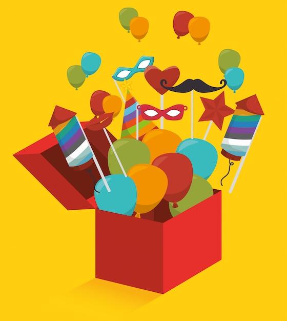 Coffret Cadeau Avec Feux D'artifice Et Ballons Vecteur Premium