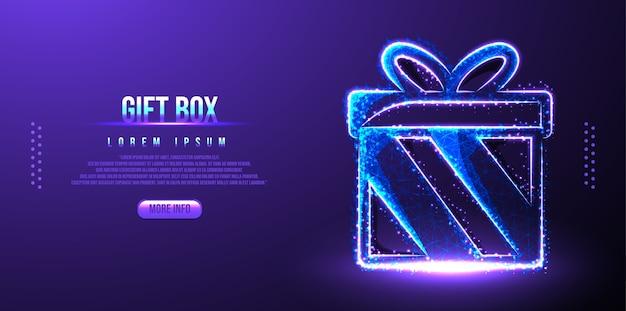 Coffret Cadeau Party Low Poly Wireframe Vecteur Premium
